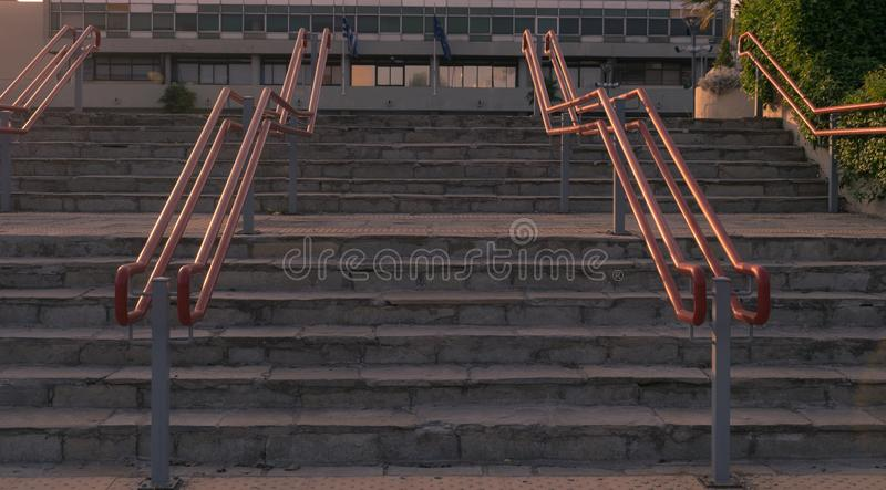 Handrails for special needs people stairs royalty free stock image