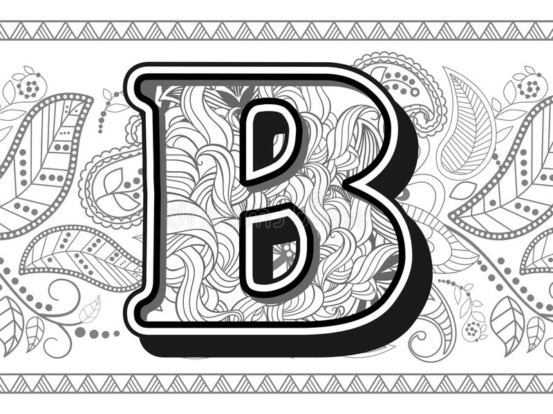 Download Zentangle Stylized Alphabet Letter B Hand Drawn Alphabetical Doodles In Stock Illustration
