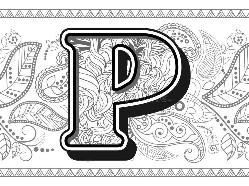 Download Zentangle Stylized Alphabet Letter P Handrawn Alphabetical Doodles In Stock Vector