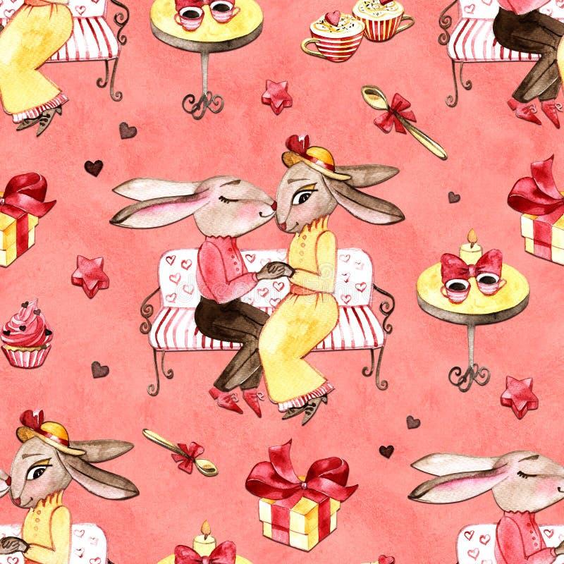 Handrawn-Häschen in der Liebe Valentinsgruß `s Tag Kaninchen und Herz Aquarellillustration auf weißem Hintergrund postkarte set vektor abbildung