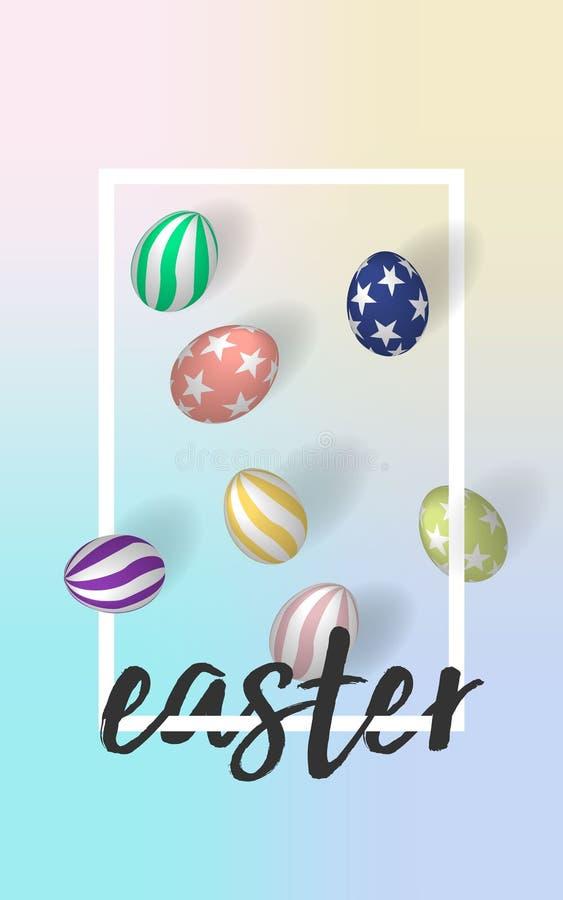 Handrawn påskstilsort med ägg för påsk 3d i dröm- bakgrund för ingreppsfärgpalett blom- ramlutningilustration ingen vektor 10 eps vektor illustrationer