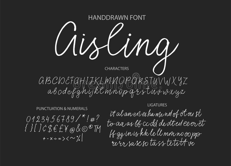 Modern calligraphic font. Brush painted letters. royalty free stock photo