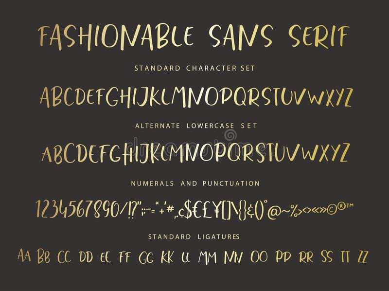 Handrawn vector alphabet. Modern gold letters for sans serif font. Marker painted abc with ligatures royalty free illustration