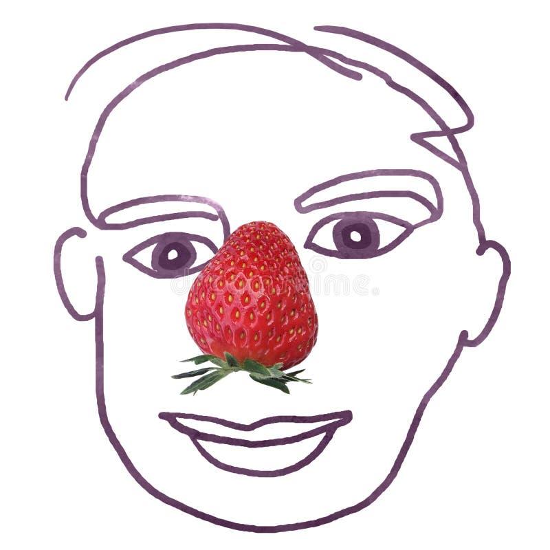 Handritat mänskligt ansikte med jordgubbsfoto för näsan royaltyfri bild