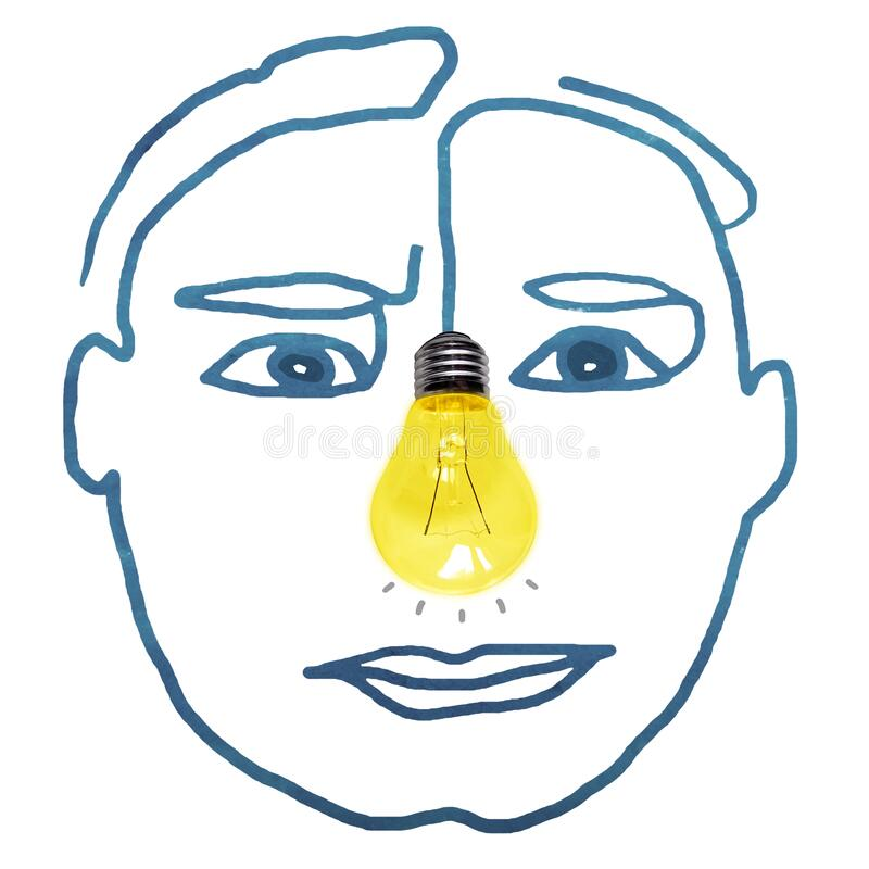 Handritat mänskligt ansikte med ljus bulbfoto för näsan arkivfoto