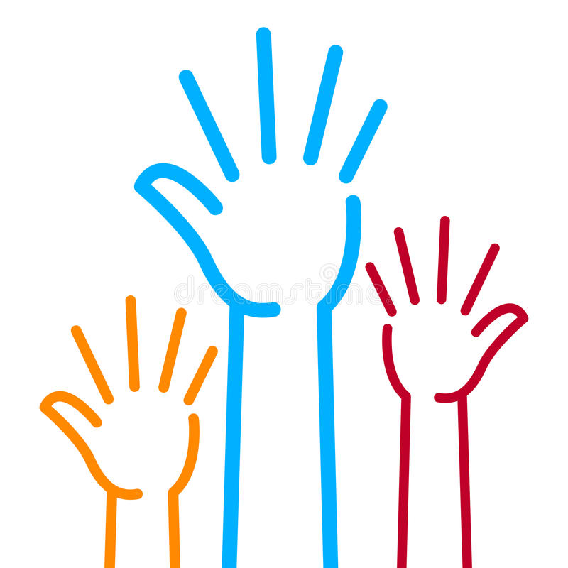 Hands. Vector illustration of colorful hands on white background