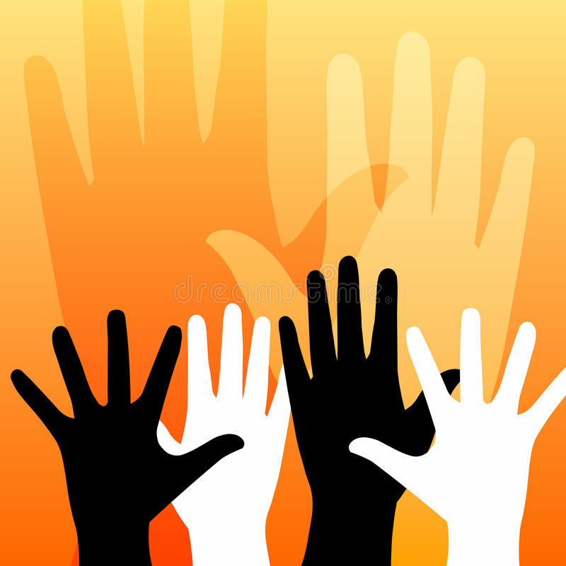 Hands. A group of raised hands vector illustration on yellow orange background can express help, revolution, democracy, voting, team work, occultism