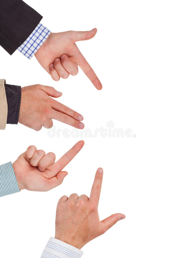 Hands. Business hands pointing on white space ready for your design stock photography