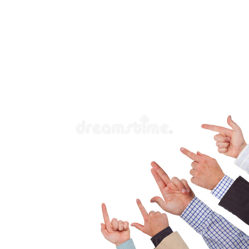 Hands. Business hands pointing on white space ready for your design royalty free stock photos