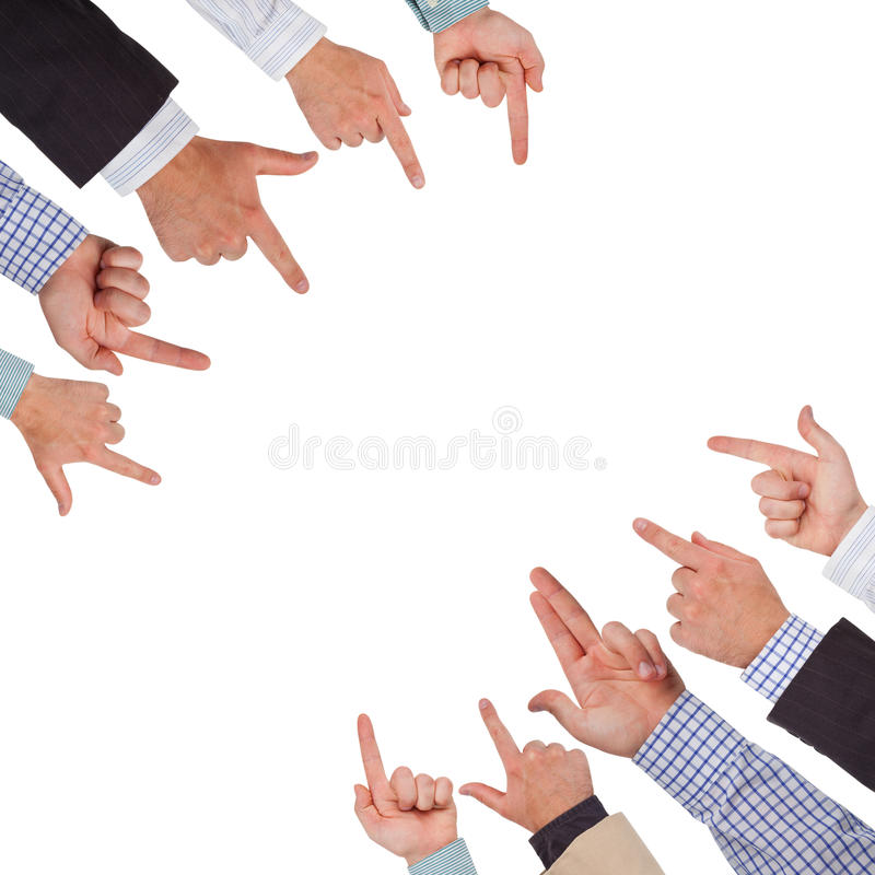 Hands. Business hands pointing on white space ready for your design royalty free stock photo