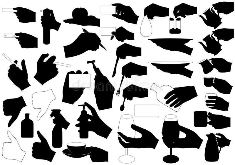 Hands with. Illustration of hands with different objects royalty free illustration