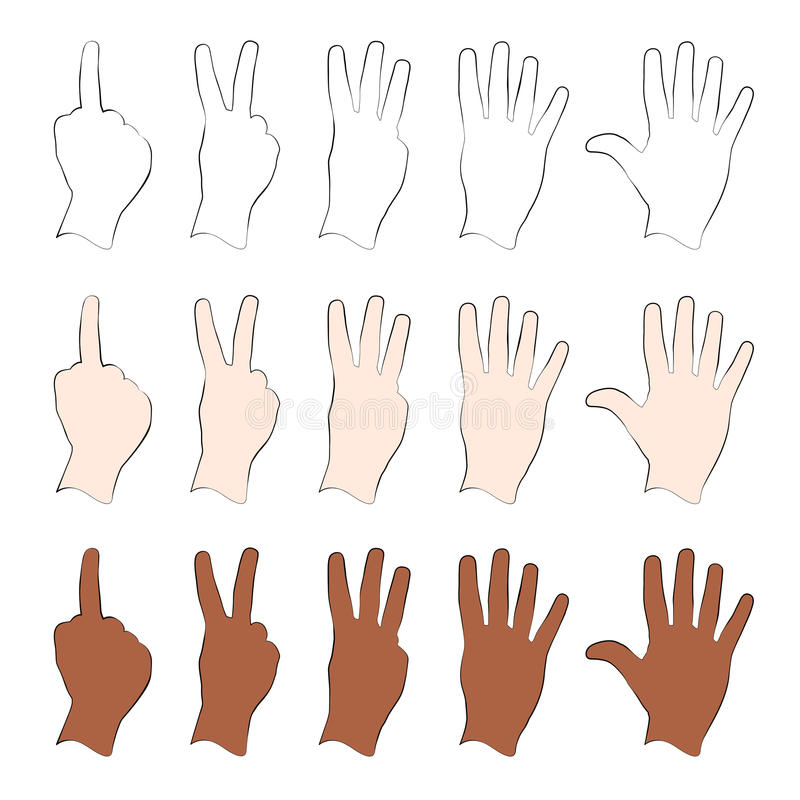 Download Hands stock vector. Illustration of fifth, counting, thumb - 29443589
