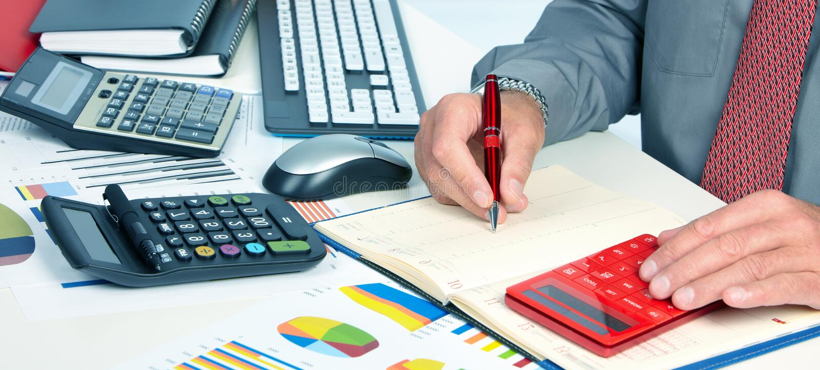 Hands of accountant man royalty free stock photo