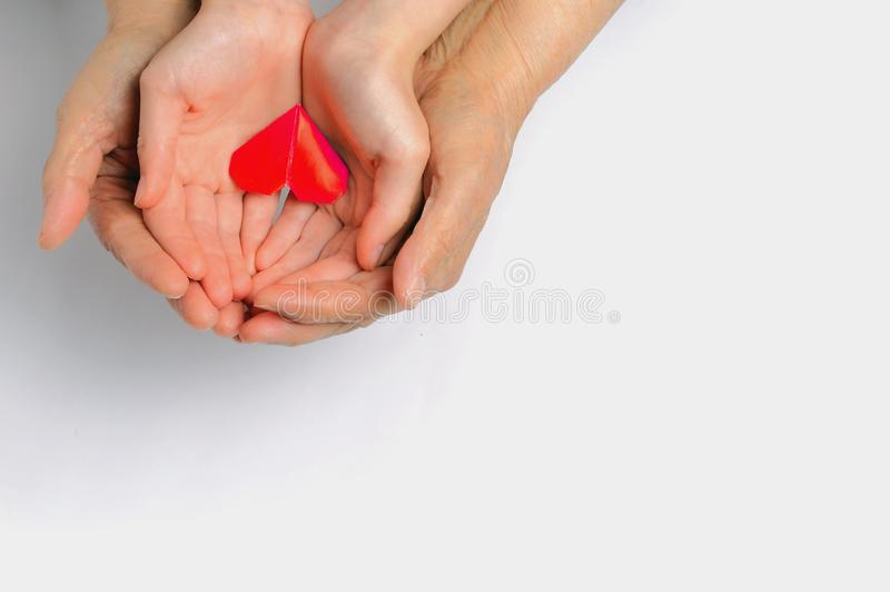 Hands of an adult and a child hold a red heart royalty free stock photo
