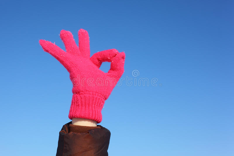 Hands In Against Sky Shows Gesture Ok Stock Photos