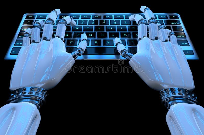 Hands of ai robot typing on keypad. Robotic arm cyborg hand using keyboard computer. 3d render realistic illustration.  stock illustration