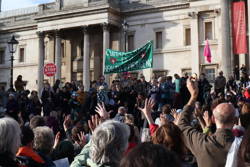 Hand In The Air at Extinction Rebellion Protest. royalty free stock photo