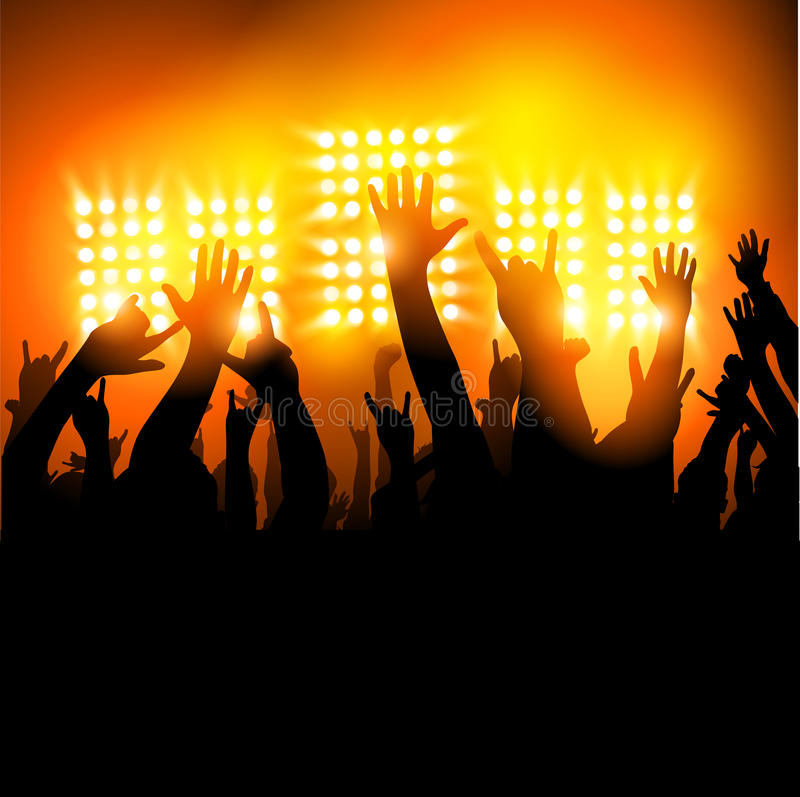 Download Hands in The Air stock vector. Image of lights, crowd - 31332984