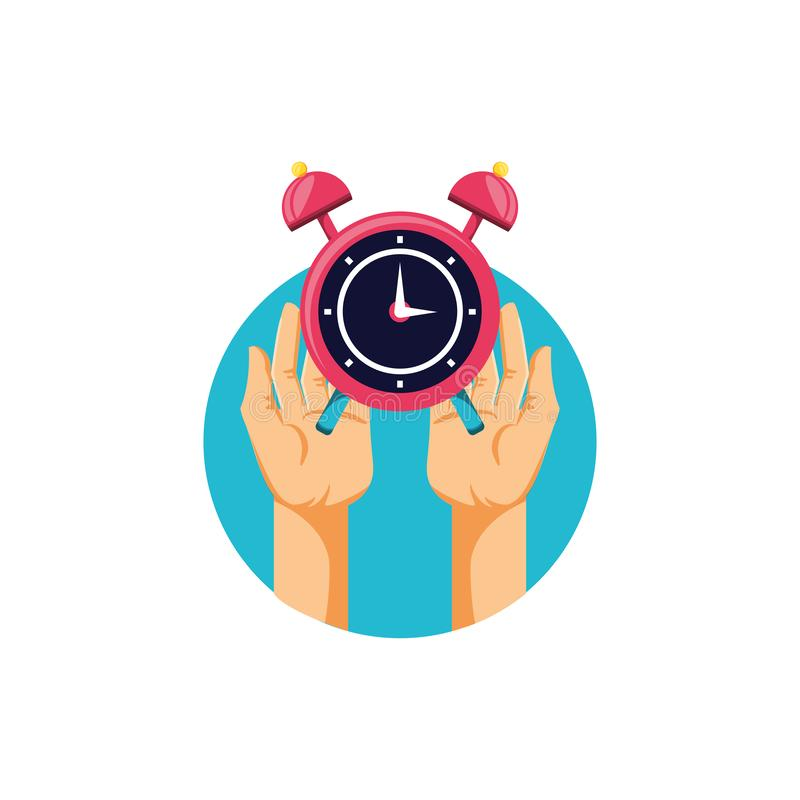 Hands with alarm clock isolated icon royalty free illustration