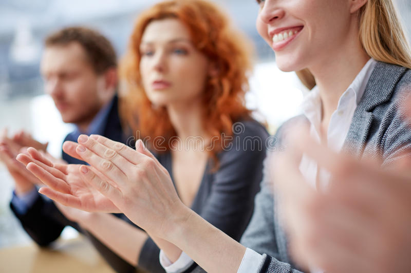 Hands applauding stock image