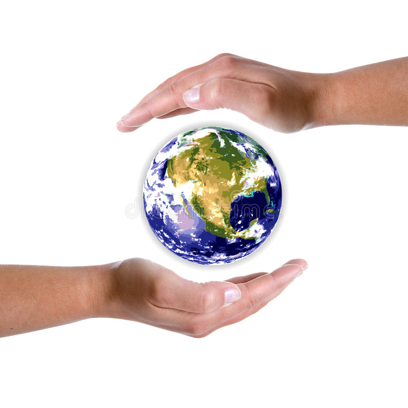 Download Hands Around Earth Globe - Nature And Environment Stock Photography - Image: 5292582