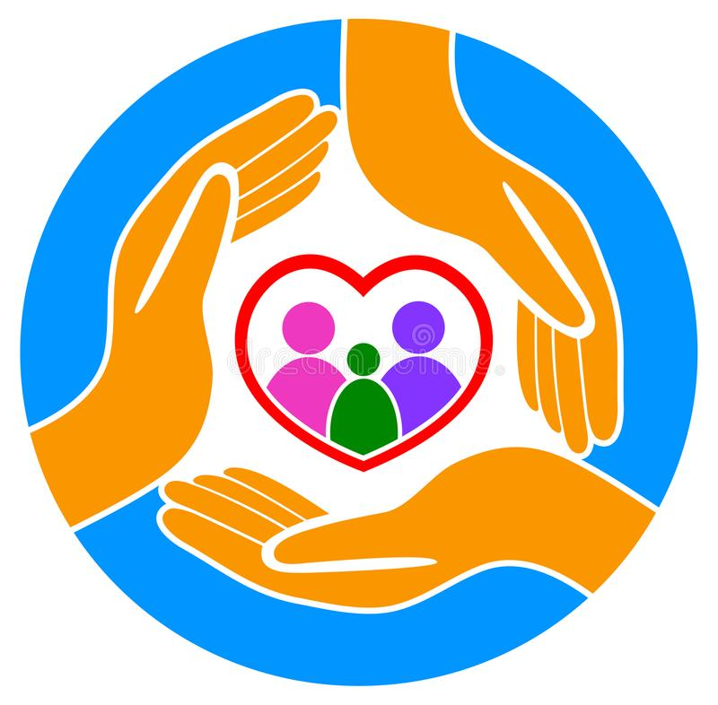 Hands around the family logo royalty free illustration