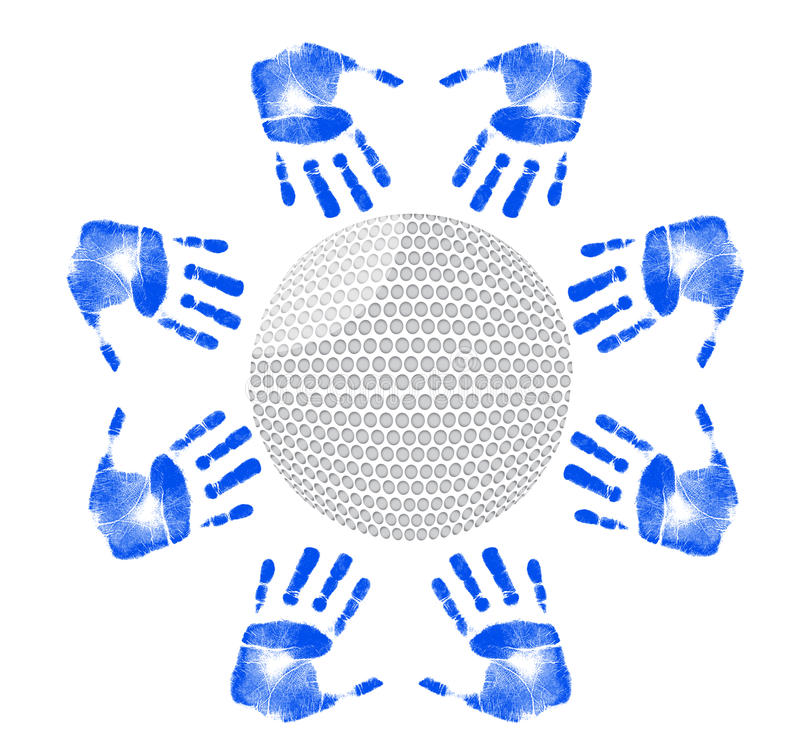 Hands around a golf ball illustration design royalty free illustration