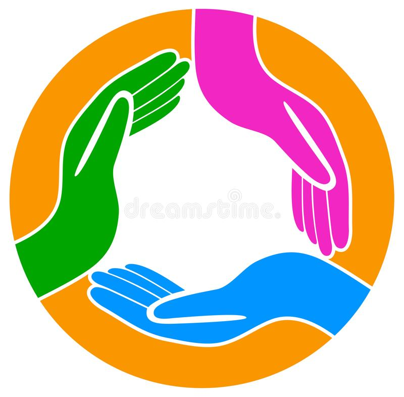 Hands around the teamwork logo stock illustration