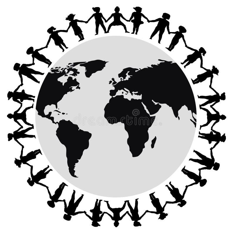 Hands Around World 2. Illustration of children holding hands around the world vector illustration