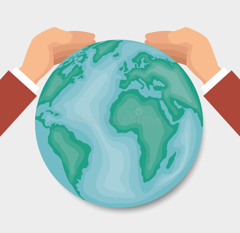 Hands around of the world design. Vector illustration eps10 graphic royalty free illustration