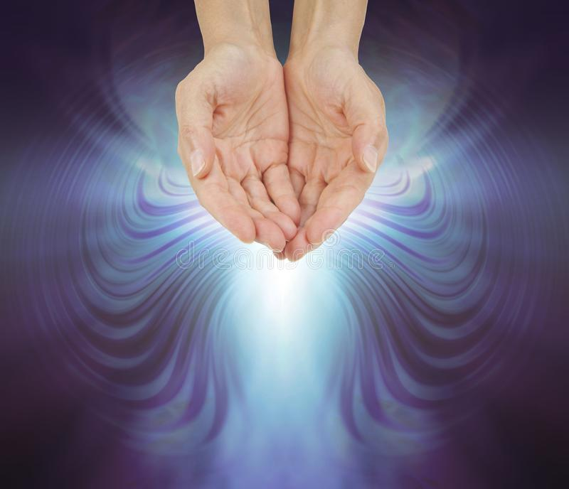 Hands Bathed in a Resonating Quantum Healing Energy Field royalty free illustration