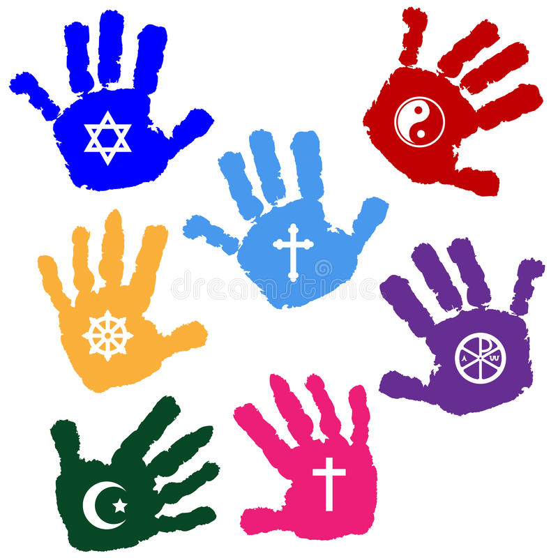 Hands of believers. Illustration of hands of believers with religious symbols vector illustration
