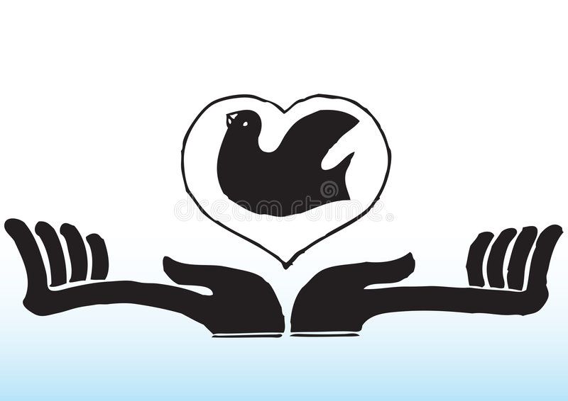 Hands with bird in heart vector illustration