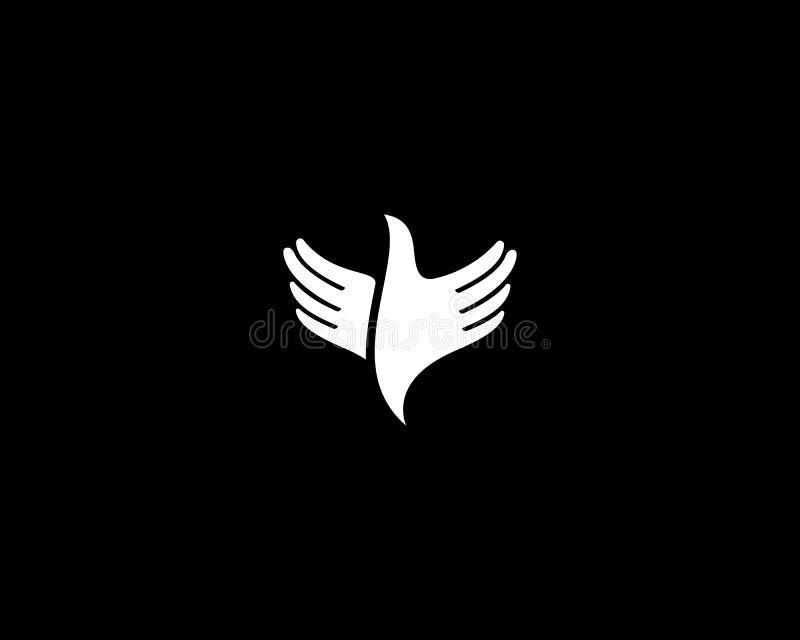 Hands bird logo design. Fingers wings dove freedom vector logotype royalty free illustration