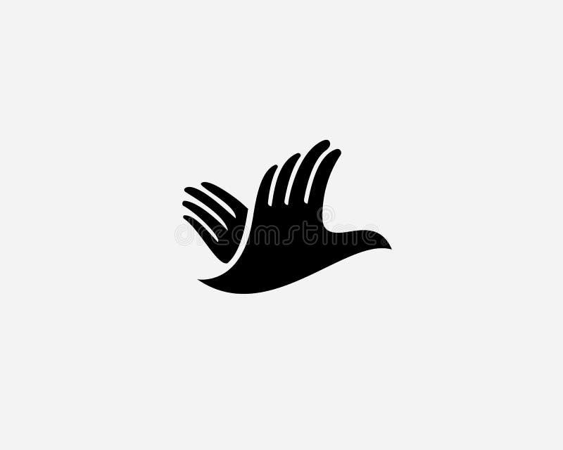 Hands bird logo design. Fingers wings dove freedom vector logotype stock illustration