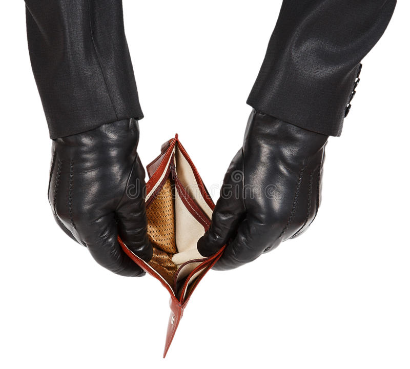 Hands in black gloves holding an open empty wallet stock photo
