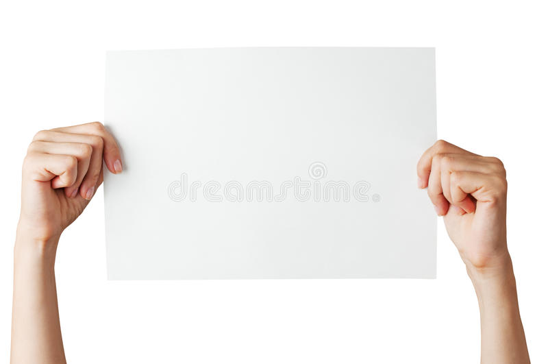Hands with blank paper stock photos