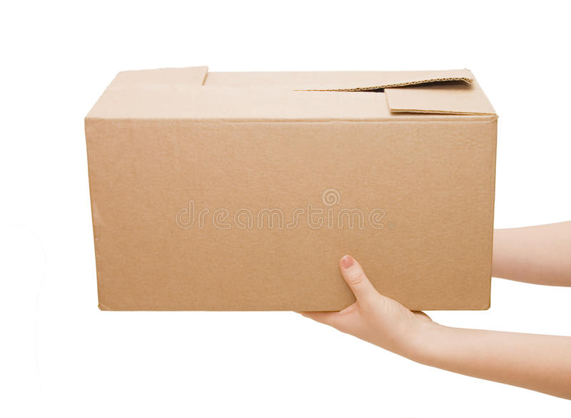 Hands with box. Isolated on white background royalty free stock photography