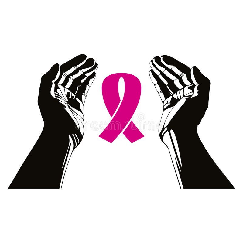 Hands with breast cancer ribbon vector symbol. stock illustration