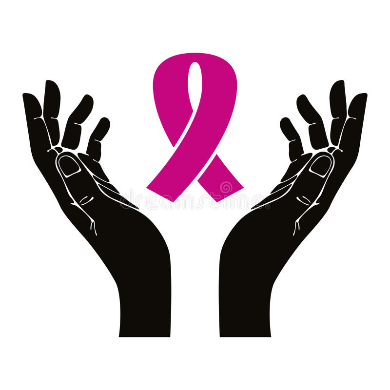 Hands with breast cancer ribbon vector symbol. vector illustration