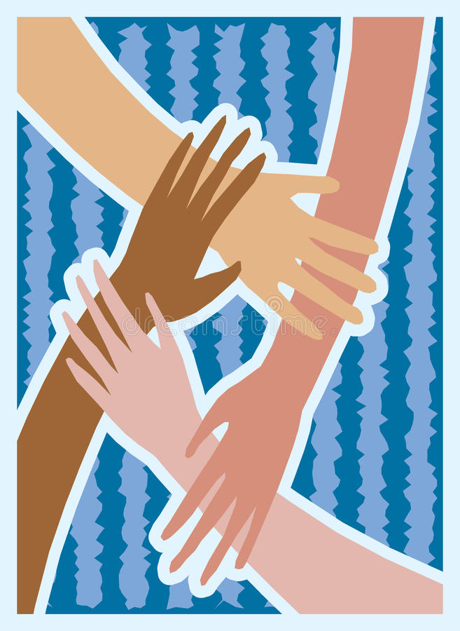 Hands of Brotherhood. World harmony and fellowship are pictured in this versatile illustration of hands of all races clasped in brotherhood. These hands can be stock illustration