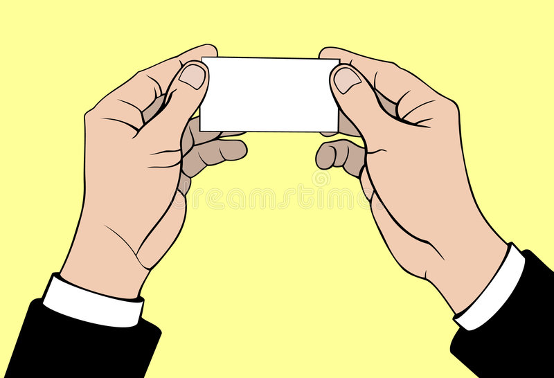 Hands with business card