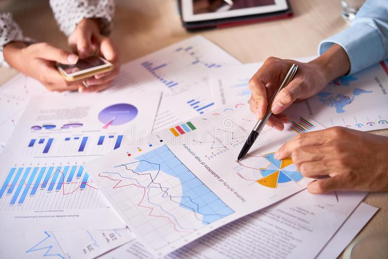 Business executives discussing company activity royalty free stock photos