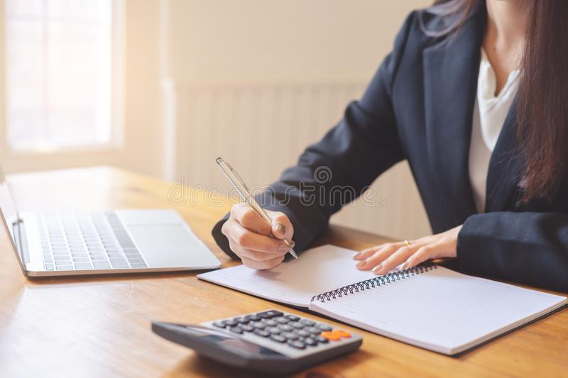 Hands of business executives discussing financial reports royalty free stock photography