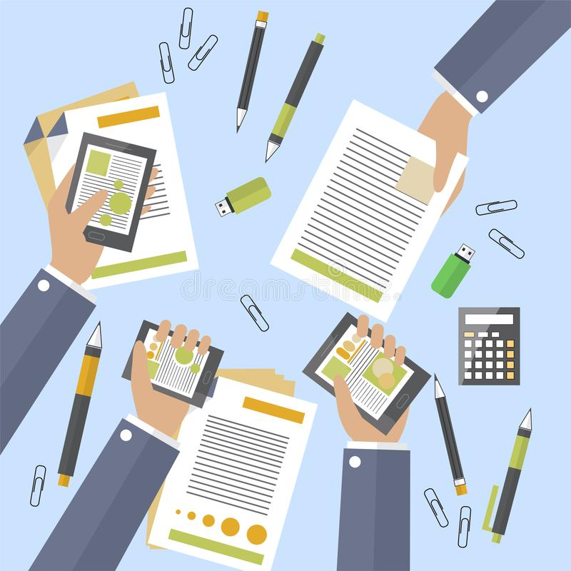 Hands of business people busy devices and papers. Big deal is signed. Treaty counting profits. Annual or monthly report. Flat desi. Hands of business people busy stock illustration