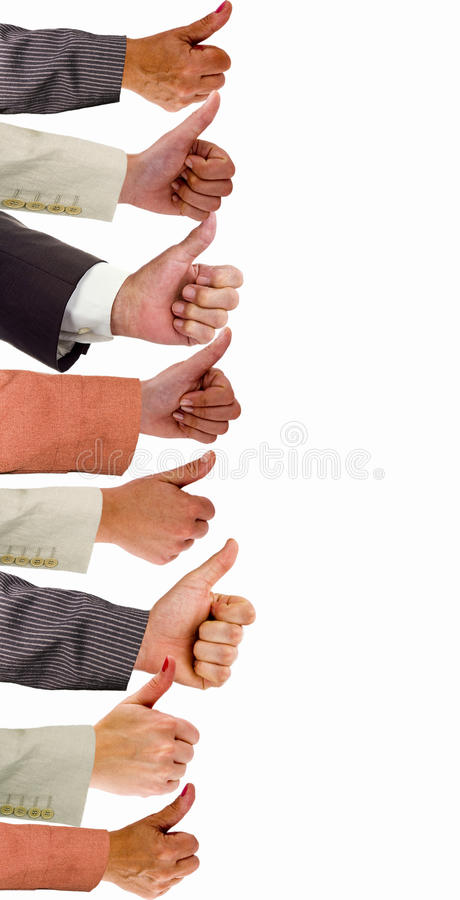 Hands Of Business People With Thumbs Up Stock Image