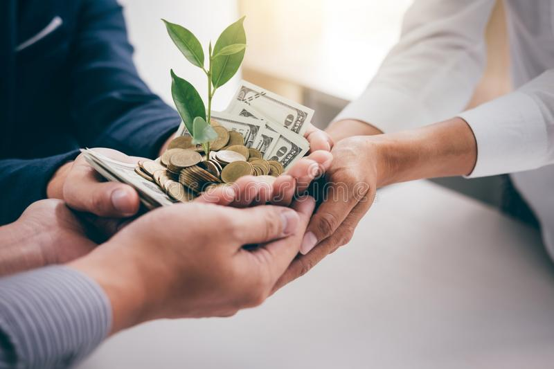 Hands of business team holding plant sprouting growing from gold stock photo