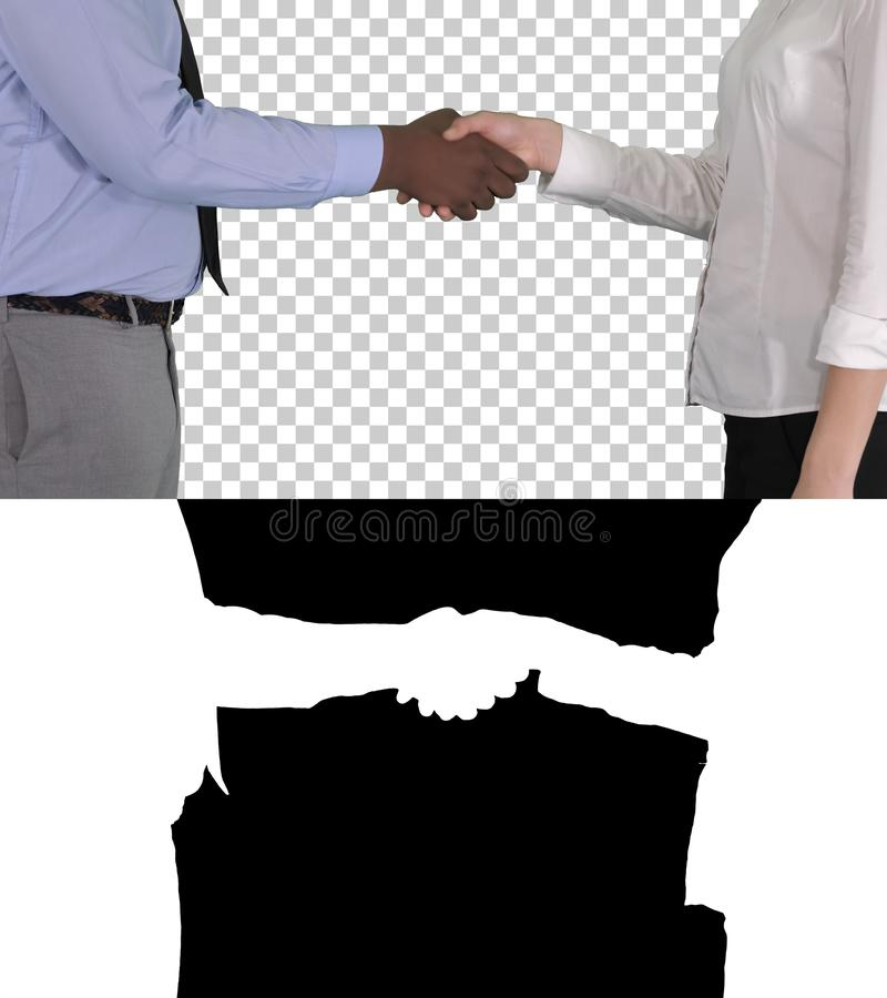 Hands of businessman and businesswoman handshaking, Alpha Channel royalty free stock photos