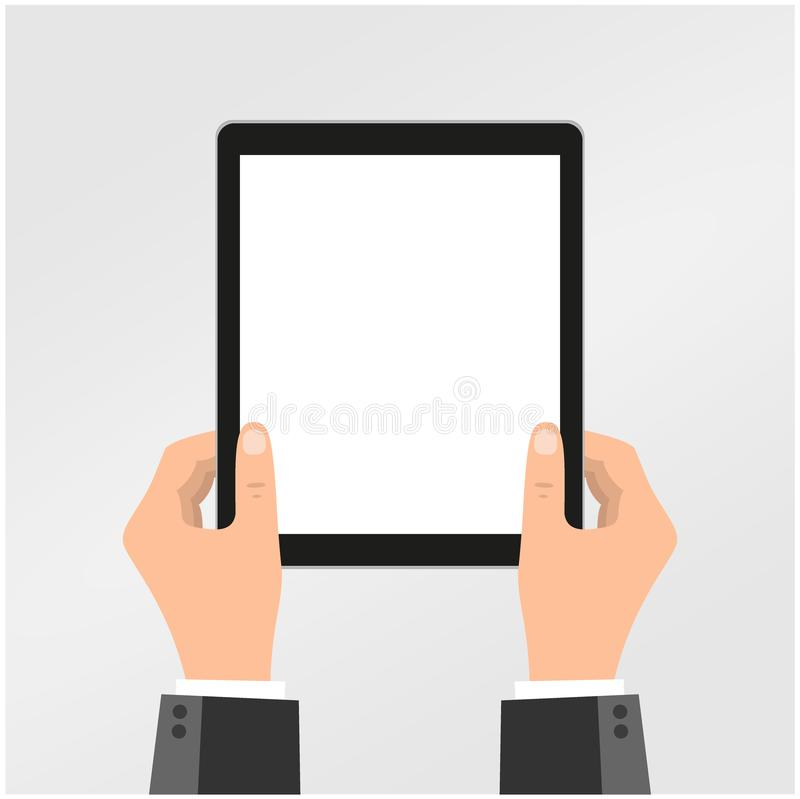 Hands of businessman holding tablet,flat design,business concept,vector eps10. Business concpet royalty free illustration