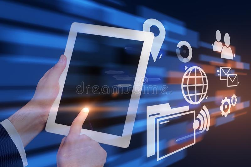 Man with tablet, business interface royalty free stock photos